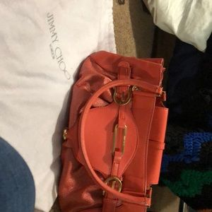 jimmy choo orange and gold leather bag 40% retail